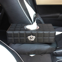 Crown Car Tissue Case Box Holder PU Leather Dashboard Ornaments Accessories Paper Towel Storage Covers Universal