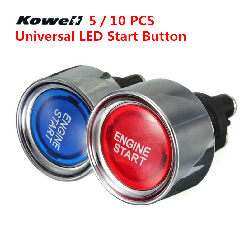 KOWELL Universal Blue Red LED Light Motor Auto Illuminated Push Button Engine Start Starter Switch Moto & Auto Replacement Parts