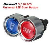 KOWELL Universal Blue Red LED Light Motor Auto Illuminated Push Button Engine Start Starter Switch Moto & Auto Replacement Parts