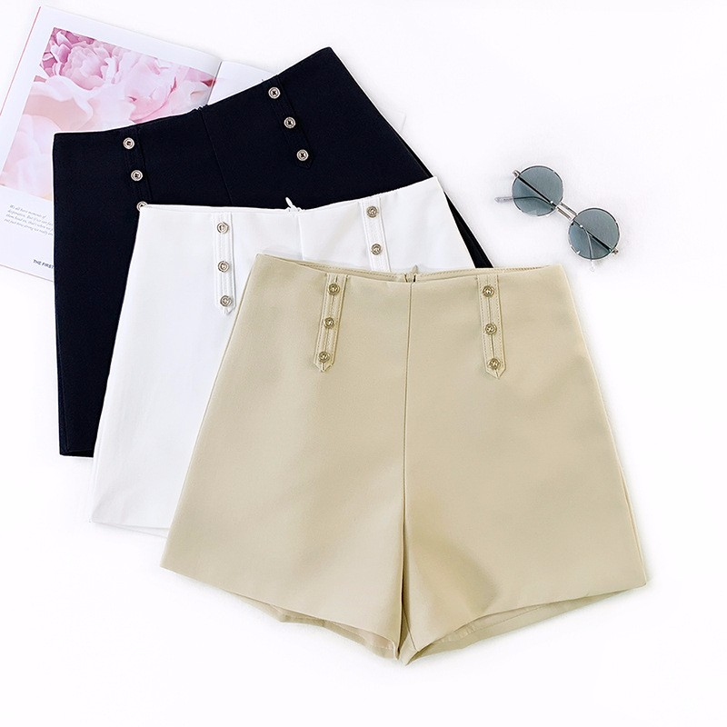BEFORW Summer New Women Casual Temperament Style Ladies Loose   Shorts   2019 High Waist Solid Color Button Office Lady   Shorts