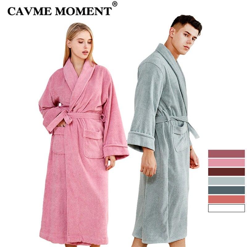CAVME 2019 Terry Kimono Plus Size Hotel Cotton Bathrobe for Women Men s Long Robes Femme