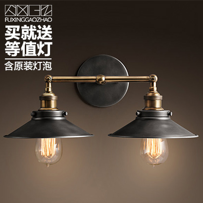 2 Heads American Retro Loft Style Industry Wall Lights Personality Originality Aisle Restaurant Bar Iron Wall Lamp Free Shipping loft industry retro restaurant bar iron glass wall lamp american bedroom bedside aisle balcony wall light free shipping