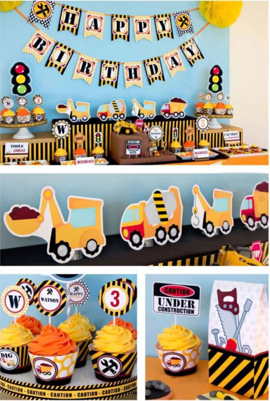 Construction Banner Construction Party Cupcake Toppers Construction Birthday Party Decoration Supplies Trucks Party Decoration