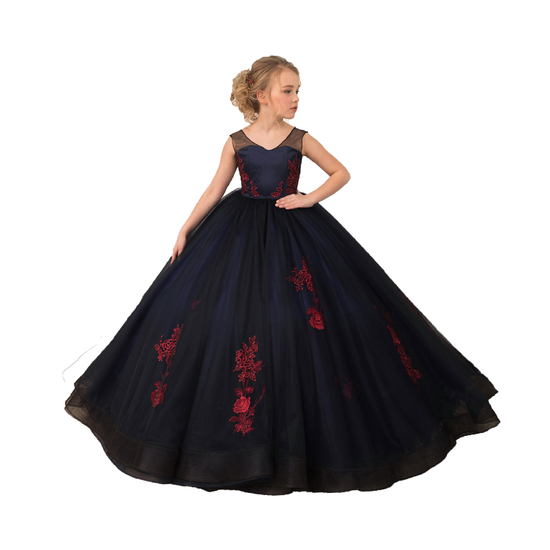 Navy Little Girls Pageant Dress Formal Kids Evening Ball Gowns Robe Mariage Enfant Fille Toddler Lace Elegant Flower Girl Dress