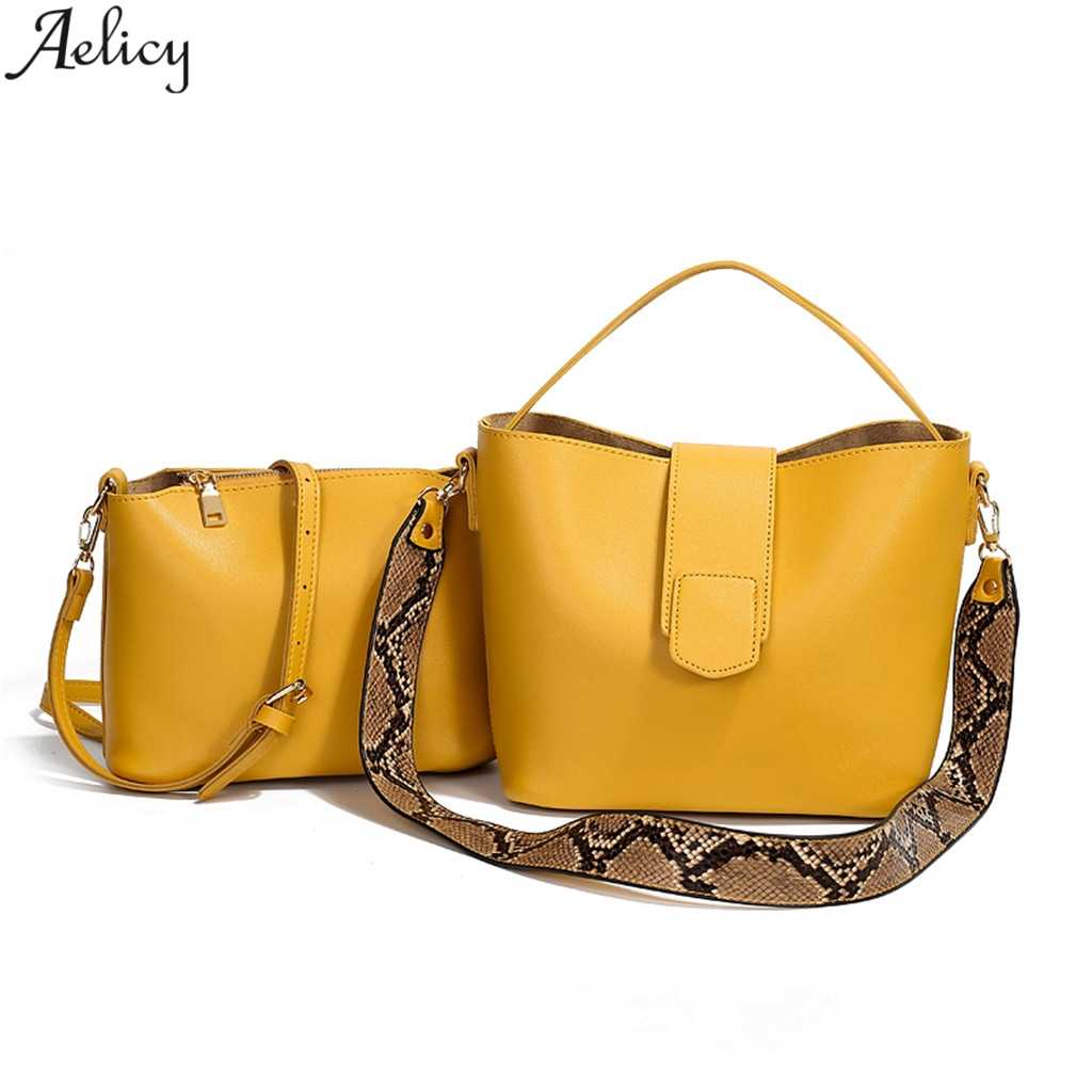 Aelicy Women's Fashion Composite Bag Lady Elegant  Temperament Fresh Color Versatile Pu Leather Shoulder Bag 2pcs Handbag Totes