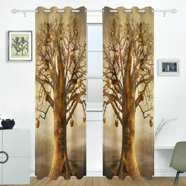 Tree Of Life Curtains Drapes Panels Darkening Blackout Grommet Room Divider For Patio Window Sliding Glass