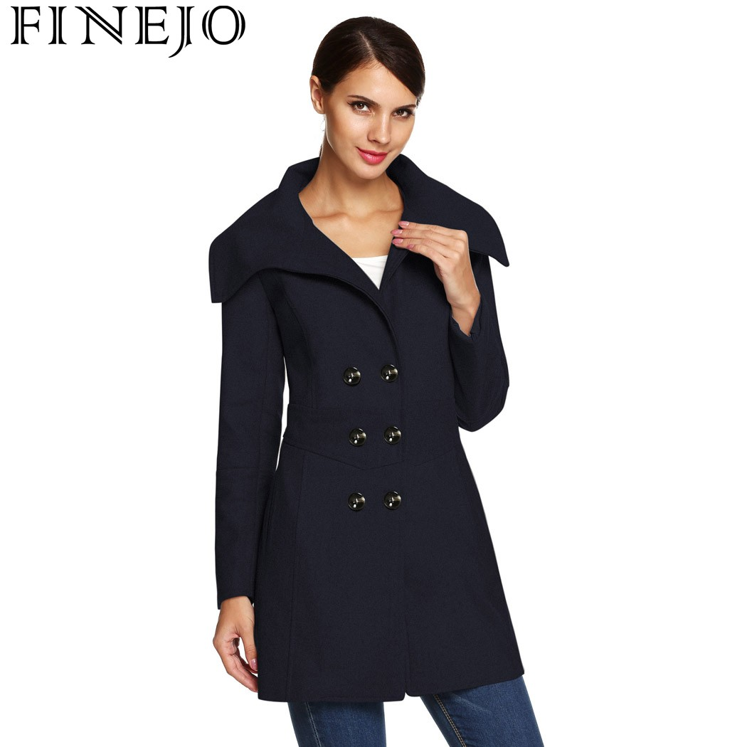 FINEJO Women trench Coat Autumn Winter Envelope Collar Slim Casual Pockets Button Double Breasted Wool Blend Ladies Warm Coat