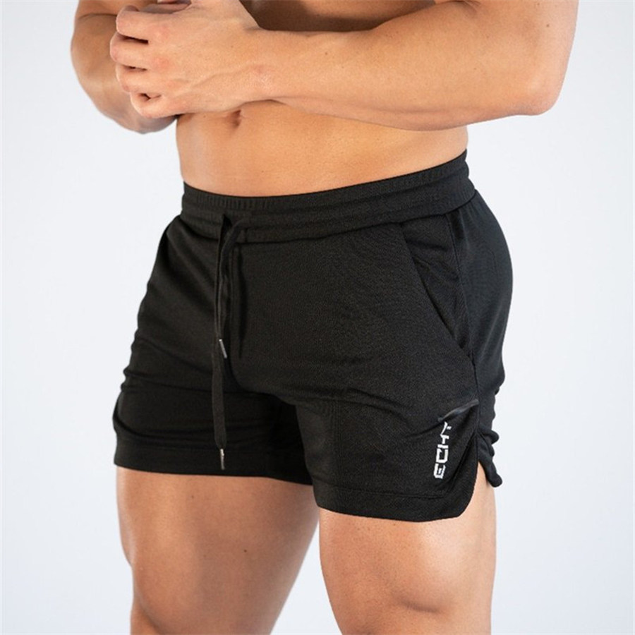 Mens Bodybuilding Quick Dry Skinny Shorts Gyms Fitness Joggers Workout Sportswear Bottoms Male Summer Casual Beach Short Pants