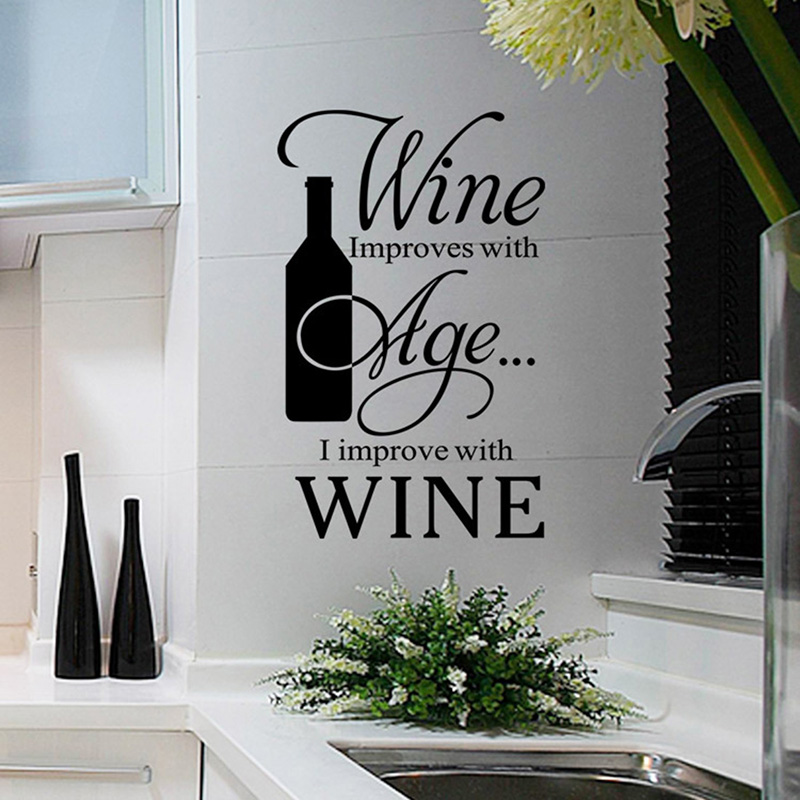 Wine Improves with Age Removable Vinyl Wall Stickers Quote Art ... on kitchen decals and stickers, kitchen label ideas, kitchen wall ideas, kitchen exhaust ideas, kitchen knob ideas, kitchen plug ideas, kitchen signs ideas, kitchen panel ideas, kitchen white ideas, blue and green kitchen ideas, kitchen magnetic ideas, kitchen tool ideas, kitchen mural ideas, kitchen hat ideas, kitchen decor ideas, kitchen plate ideas, kitchen seat ideas, kitchen wood ideas, kitchen embroidery ideas, kitchen tattoo ideas,