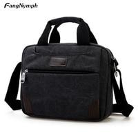 High Quality Men Canvas Shoulder Bag Messenger Bag Multi Compartment Laptop Bag Handbags Solid Colors 4