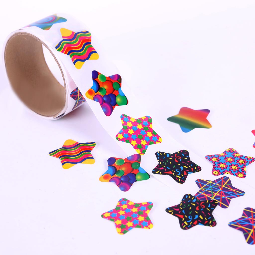 One Roll Children Stationery Stickers Tape Creative School Reward Cute Pentagram Sticker 100pcs 3.8cm Kids Toy Stickers