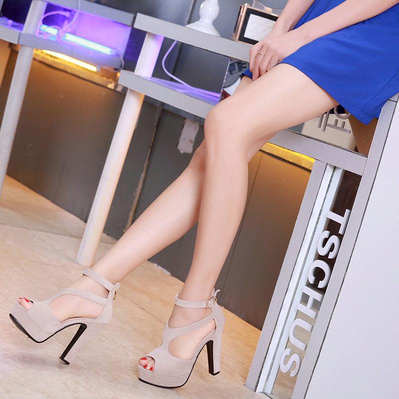 QUTAA 2017 Women Pumps Summer Black Ladies Shoe Square High Heel Peep Toe PU Leather Zipper Woman Wedding Shoes Size 34-43 20