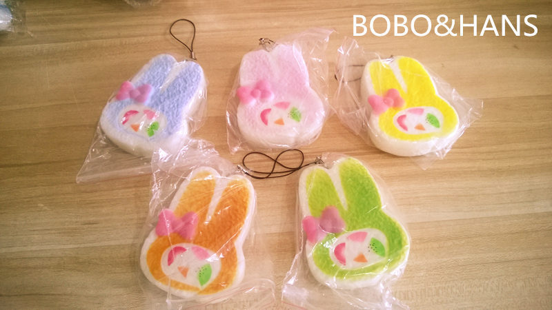 bilder für Neue Nette farbe bunny kopf squishy charme/handy gurt/Großhandel