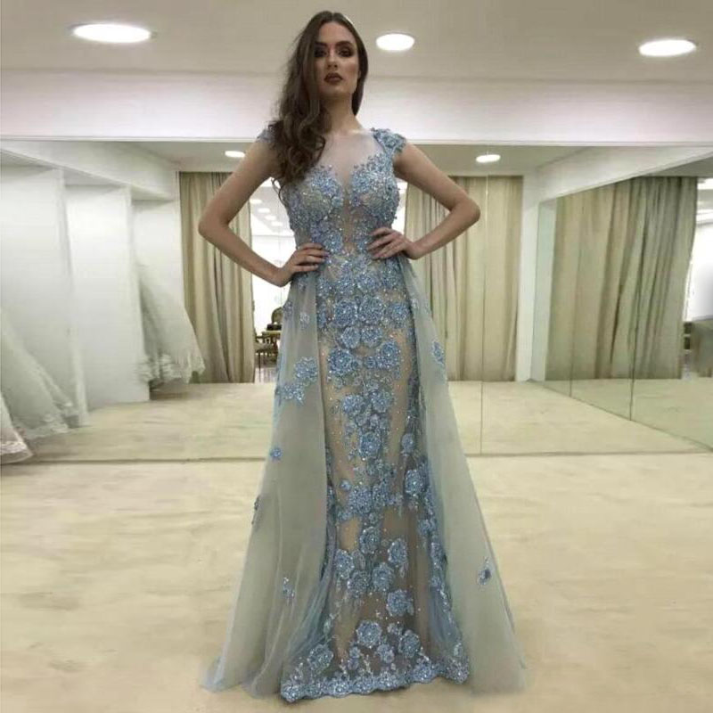 Detail Feedback Questions about 2018 Sexy Lace Mermaid Prom Gowns  Detachable Removable Overskirt Floral Beaded Long Evening Gowns Elegant Arab  Women Party ... 6ee4cece7252