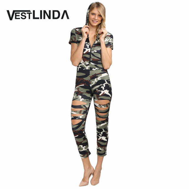 VESTLINDA Streetwear Short Sleeve Hollow Out Casual Women Jumpsuit Camouflage Print Cut Out Jumpsuit Women Summer Romper Femme