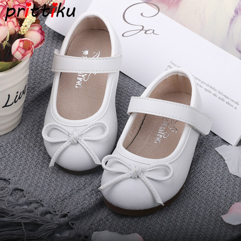 2018 Baby Toddler Girl Ballet Flats Little Kid Bow Microfiber Leather Mary Jane Children Casual School Walking Black White Shoes