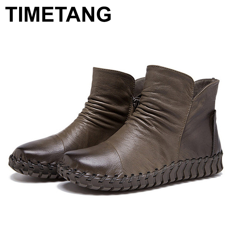 TIMETANG Colors Autumn Genuine Leather Shoes Women Boots Comfort Winter Shoes Flat Ankle Boots For Women Casual Ladies Shoes original handmade autumn women genuine leather shoes cowhide loafers real skin shoes folk style ladies flat shoes for mom sapato