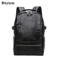 Casual Leisure Solid High Quality Black Genuine Leather Soft Sheepskin Laptop For Teenage Men Backpacks Male Travel Bags
