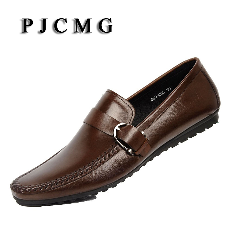 PJCMG New Brand  Moccasins Men Genuine Leather Casual Breathable Lazy Hasp Men's Clothing  Men Business Casual Boat Flats Shoes cbjsho brand men shoes 2017 new genuine leather moccasins comfortable men loafers luxury men s flats men casual shoes