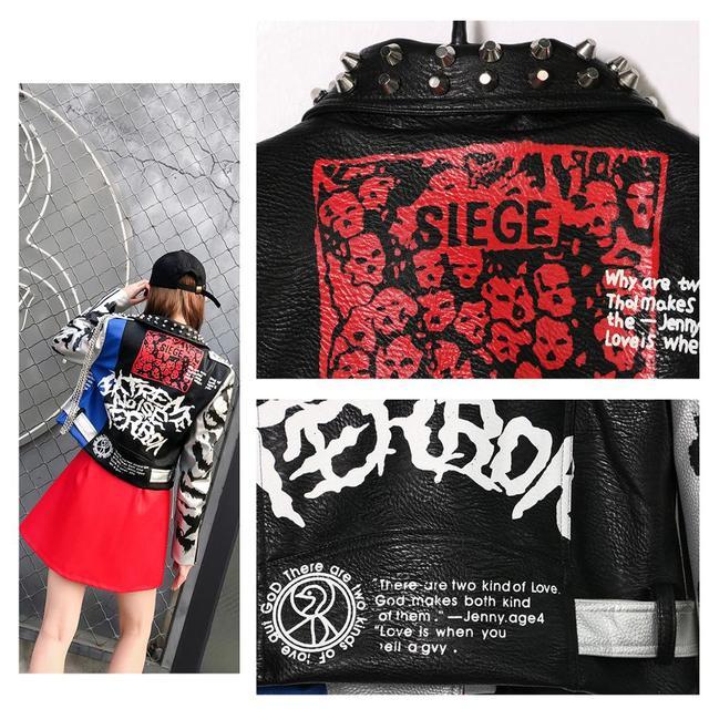 LORDXX Jacket Autumn Women Long Sleeve 2018 Fashion Stud Turn-down Collar Faux Leather crop Jackets ladies Zipper Coat Tops 4