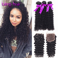 "10""-24"" Malaysian Deep Wave 3 Bundles Best Malaysian Curly Hair With Closure Malaysian Virgin Hair with Closure Human Hair Weave"