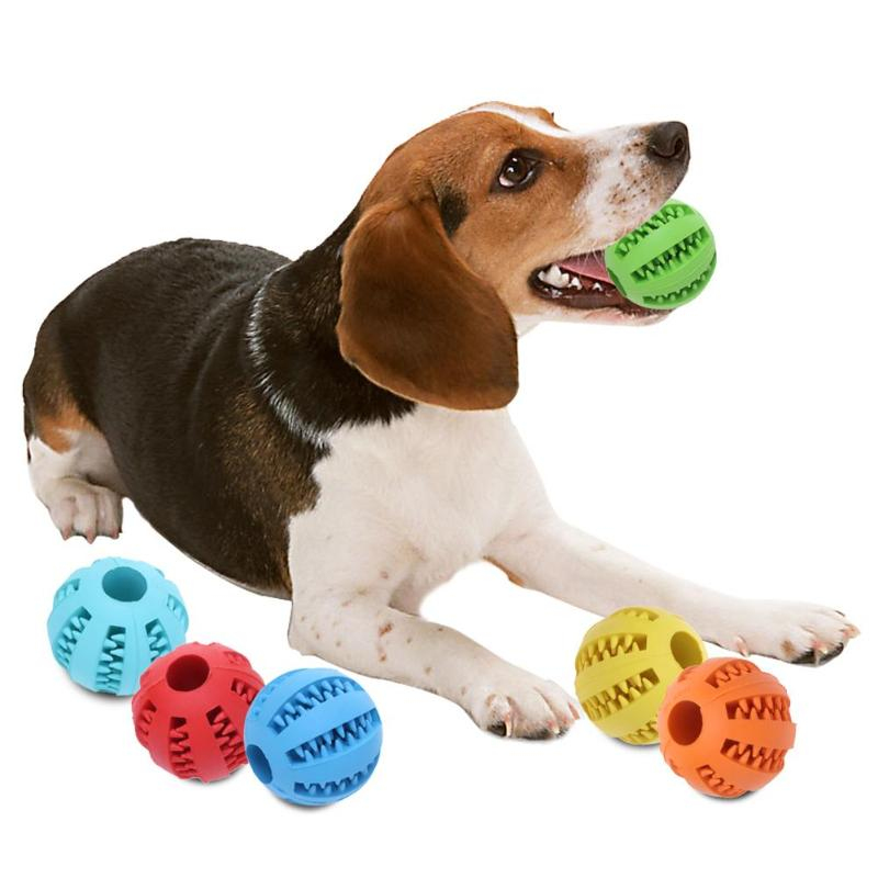 5/7 cm Pet Dog Cat Rubber Ball Chew Treat Cleaning Training Interactive Teething Natural Rubber Puppy Dog Toys Food Supplies image