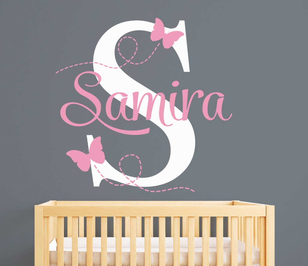 butterfly baby rooms promotion shop for promotional butterfly baby customize name butterflies wall stickers for kids room personalized girl name bedroom nursery wall art pic baby wall decals jw05