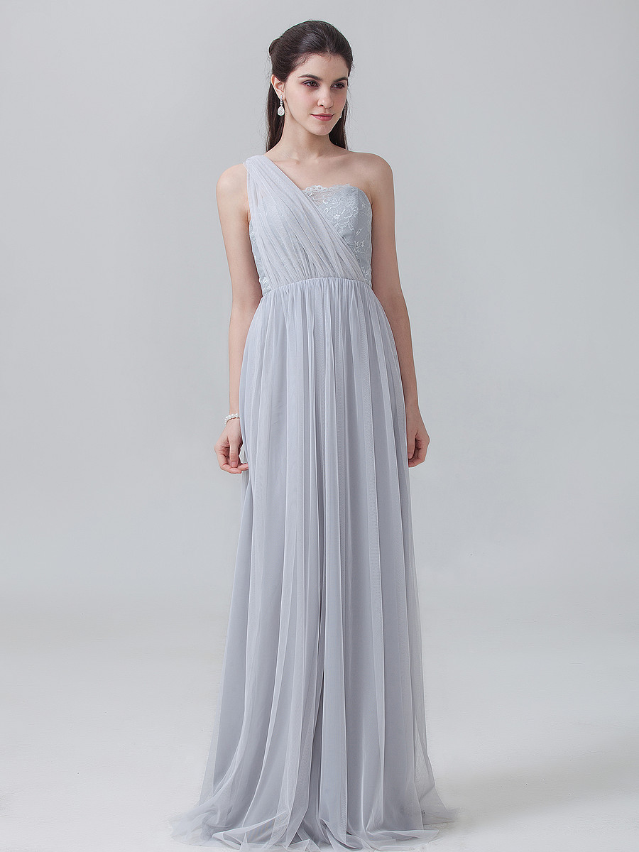 Günstige Convertible Brautjungfernkleider unter 60 Tüll Lange Silber ...