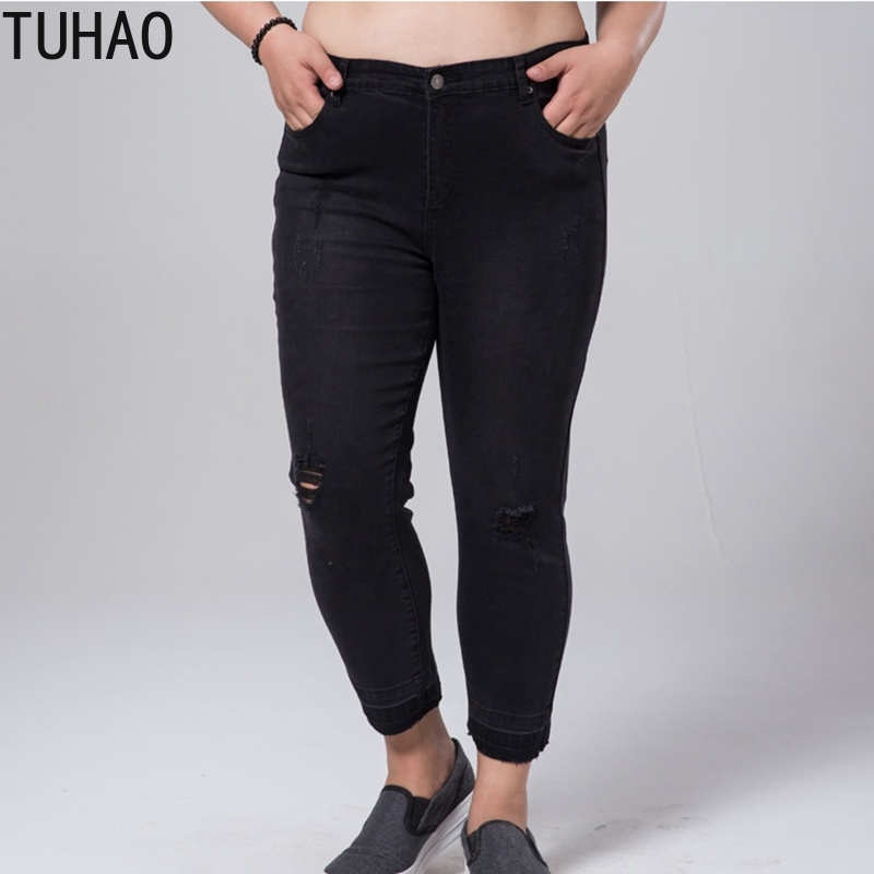 TUHAO Women 2019 Stretch Pants Big Size Female Torn Trouser 5XL 6XL 7XL Ripped Jeans Woman