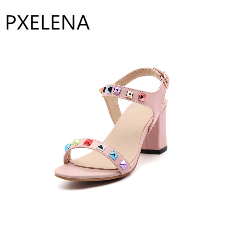 Bunte Schwarzes rosa Frauen Klumpige Sommer weiß Block Knöchelriemen grau Pxelena 34 sandalen Sandaletten Schuhe Heels Rivet Fashion Hot 2018 Bürodame High 43 gqxA0wf