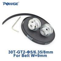 POWGE 2pcs 30 Teeth GT2 Timing Pulley Bore 5 8mm 3Meters Width 9mm GT2 Open Timing
