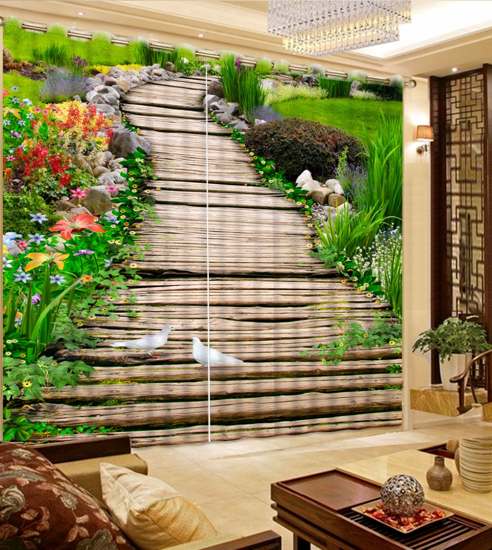 Interior Rexovation Drapes 3D Photo Curtain park wooden bridge Modern Curtains For Bedroom Living room Blackout Curtain window valance