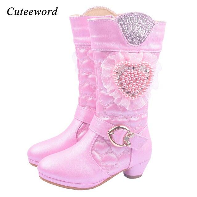 267a7f53156 Meninas botas crianças botas de couro de salto alto 6 7 8 9 10 11 ...