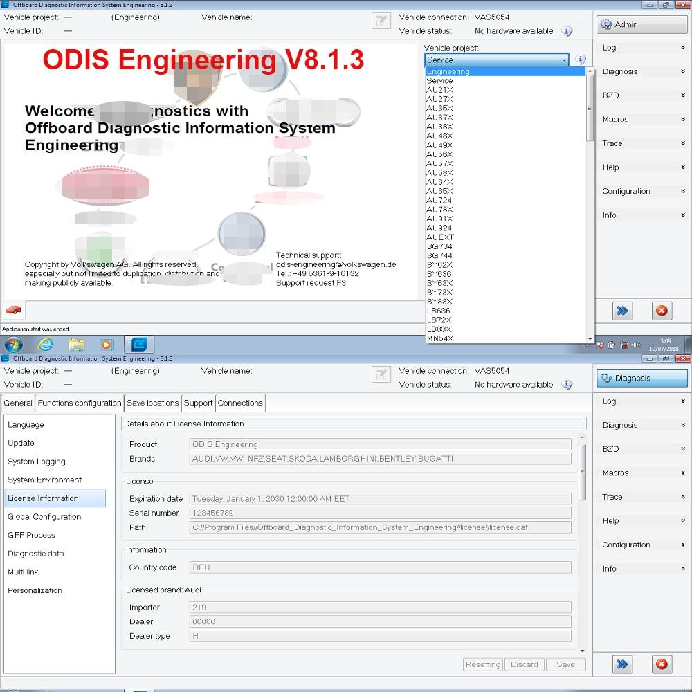 D'origine ODIS D'ingénierie V8.1.3 + ERWIN Flash + Licence Pour VAS 5054A et VAS6154 Date Version ODIS-E V8.13 Logiciel De Diagnostic