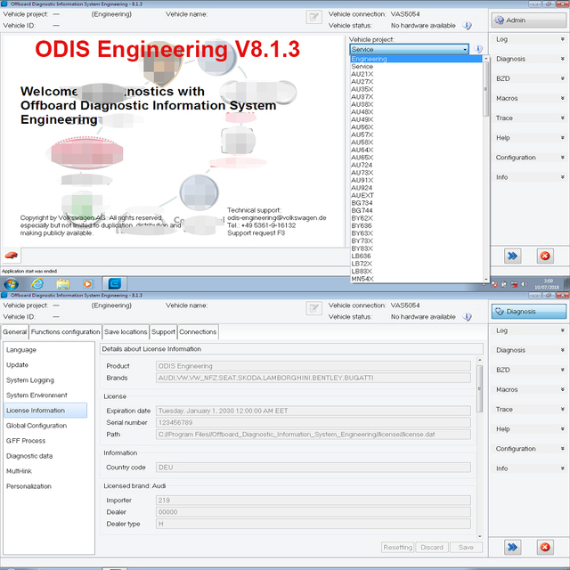 Original ODIS Engineering V9.2.2/V5.1.3+ERWN Flash+TPI+License For VAS 5054A/VAS6154 ODIS 5.1.3 Diagnostic Software For VAG Car