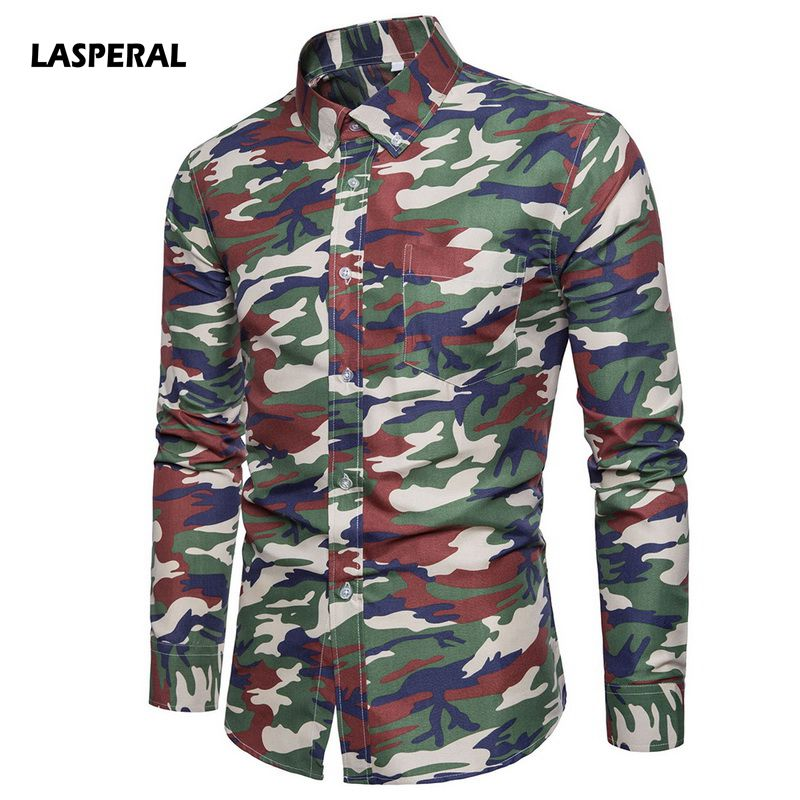 LASPERAL High Quality Shirt Men Fashion 2018 New Spring Long Sleeve Camouflage Print Floral Men Casual Shirts Slim Dress Shirts