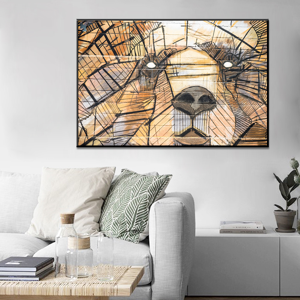Unframed Canvas Painting Abstrac Line Delineate Combination Bear Print Painting Posters Wall Picture For Living Room Home Decor