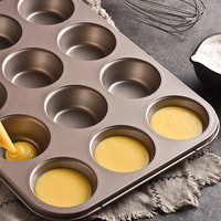 Carbon Steel 12 Small Cake Mold Continuous Mold Multi function Non stick Roasting Pan Oven 6 Paper Cup Maffen Baking S/L Size