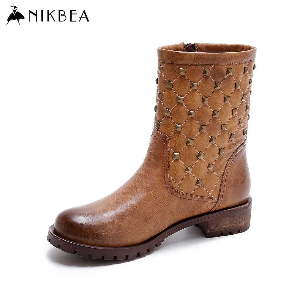 Nikbea New Rock Boots and Shoes Rivet Punk Motorcycle Boots Women 2016 Autumn Winter High Ankle Boots Leather Pu Bota Feminina punk women s satchel with rivet and pu leather design