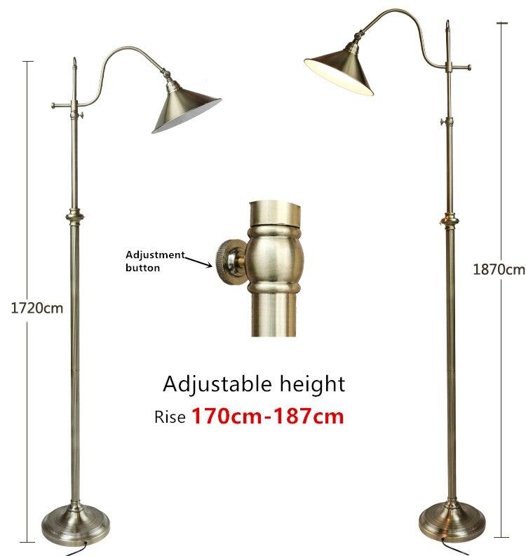 Nordique rétro lampe créative cuivre lampadaire hauteur réglable 172-187 cm décoration créative lampadaire