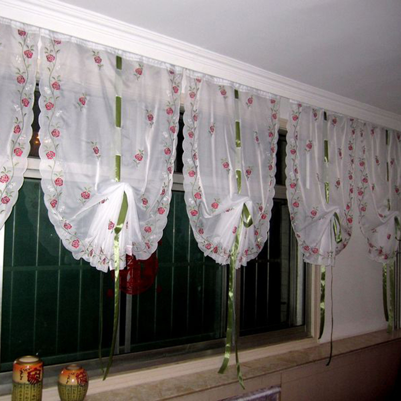 Kitchen Short Curtains Roman Blinds White Sheer Tulle: Cafe Kitchen Curtains Embroidered Valances Sheer Voile