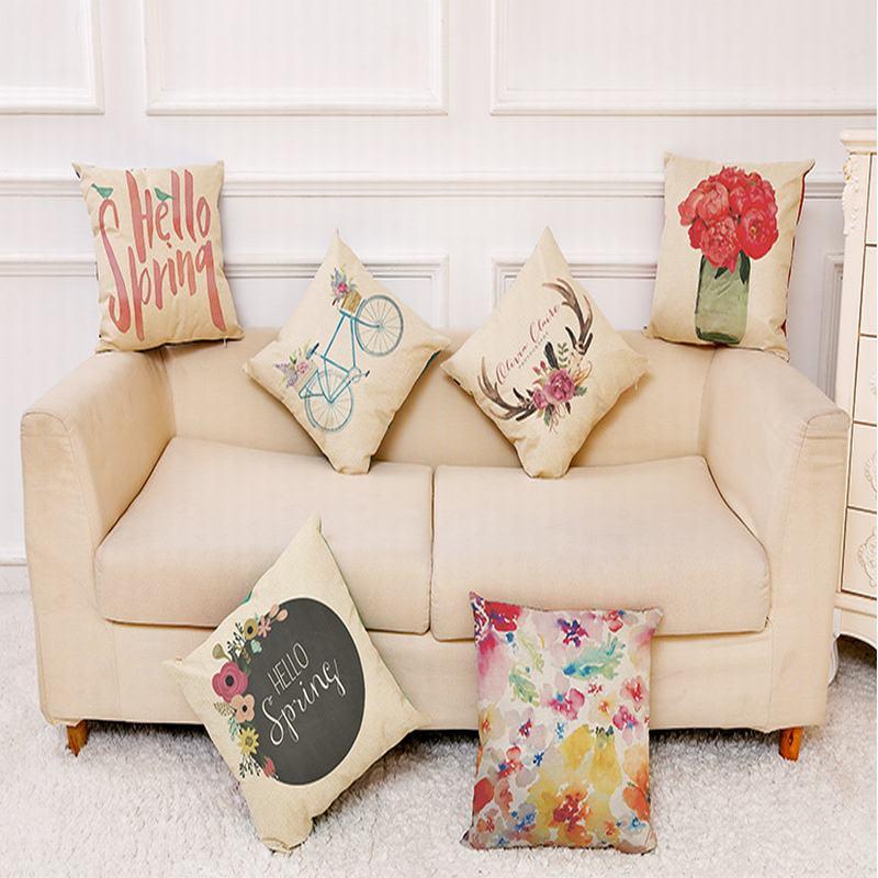2018 Creative European American Photo print Pillow Case 45*45cm Home Decor Office Chair Car Pillow Cushion Cover Pillowcase