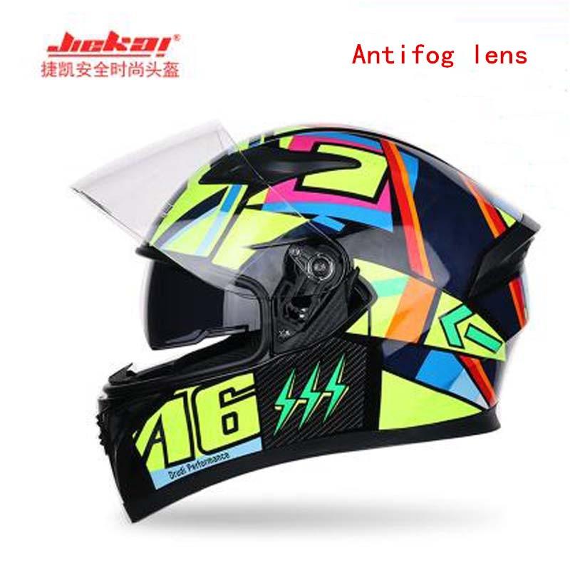 JIEKAI Full face Motorcycle helmets for women and men full cover four seasons Double lens Motorbike Racing safety helmet