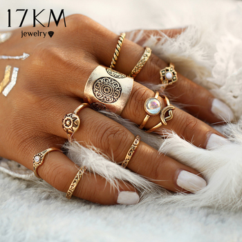 17KM New 9 pcs/set Vintage Silver Color Ring Sets Antique Midi Finger Rings for Women Steampunk Turkish Party Boho Knuckle Ring 1