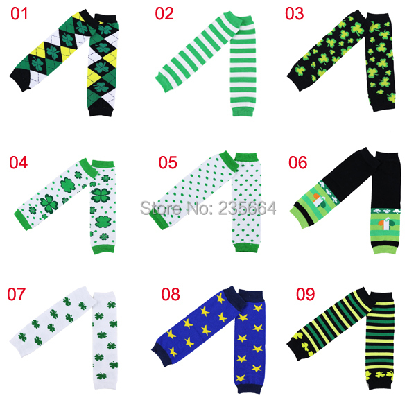 Sale Casual Leggings Leg Warmers Baby New Arrival Kids Winter Set For St. Patricks Day Four Leaf Design Leg Warmer Infant