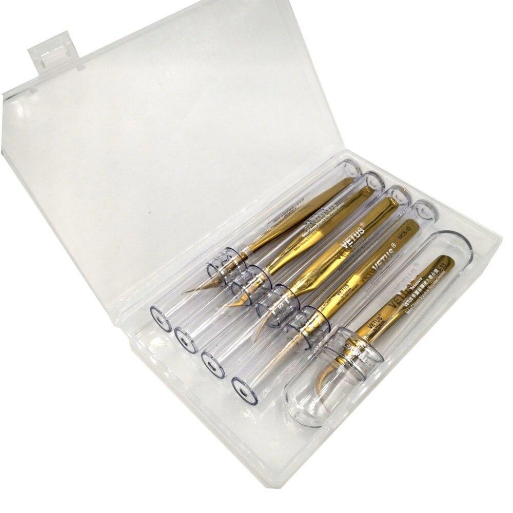 Pack de 5 pièces D'or Vetus MCS Série Maquillages Pincettes pour Beauté Cils Grip Cueillette Sélection Fonctionne avec boîte de rangement en plastique
