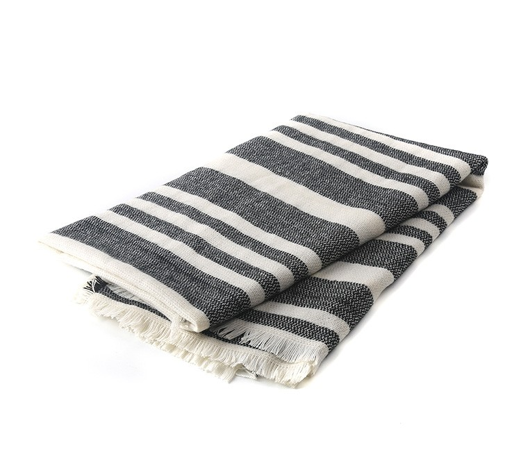 White Black Striped Scarf | Blanket Scarves