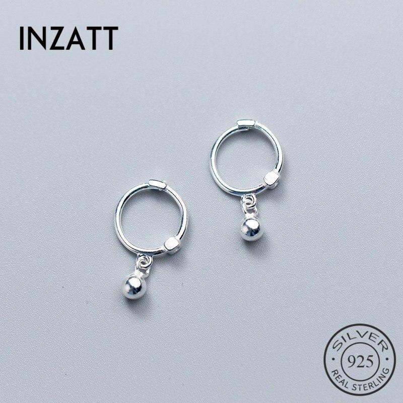 INZATT Real 925 Sterling Silver Star Heart Pentagram Beads Pendant Hoop Earrings For Women Party Fashion Jewelry Accessories Пирсинг ушей