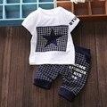 2017 bebé ropa de verano de algodón ropa de los cabritos fija la camiseta + pantalones medios ropa traje set Estrella Impresa ropa de los juegos del bebé