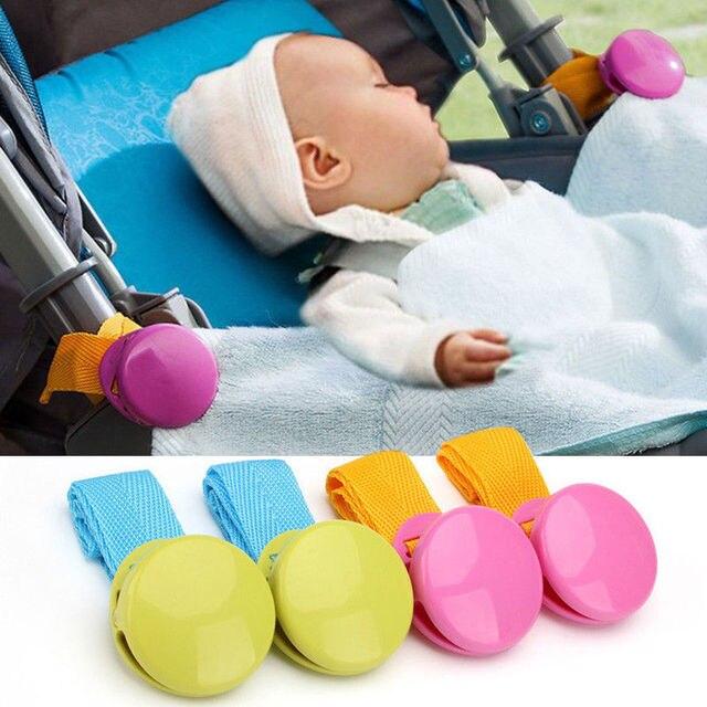 Delicada del bebé cochecito accesorio 2018 Venta caliente 2 unids/lote brillante multicolor Anti Tipi Clip manta Clip para bebé Buggy